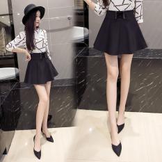 Korea Fashion Style Hitam Perempuan Musim Panas Pinggang Tinggi Pendek Rok Rok Lipatan (Hitam) baju wanita rok
