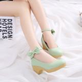 Ongkos Kirim Korea Fashion Style Horizontal Jenis Gesit Siswa Sepatu Kulit Perahu Sepatu Hijau Di Tiongkok