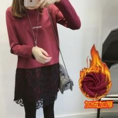 Toko Korea Fashion Style Huruf Ukuran Besar Terlihat Langsing Gaun T Shirt Arak Anggur Warna Tambah Beludru Baju Wanita Baju Atasan Kemeja Wanita Termurah
