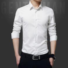 Korea Fashion Style Kain Katun Pria Slim Kemeja Lengan Panjang Kemeja (Putih)