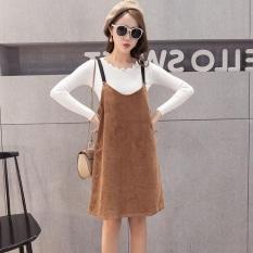 Korea Fashion Style Kain Korduroi Perempuan Setengah Panjang Model Dress Tanpa Lengan Overall (Coklat Muda Warna) baju wanita dress wanita Gaun wanita