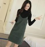 Jual Korea Fashion Style Kain Korduroi Perempuan Setengah Panjang Model Dress Tanpa Lengan Overall Hijau Tentara Warna Baju Wanita Dress Wanita Gaun Wanita Other Original