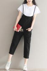 Korea Fashion Style Kain Linen Warna Solid Alami Celana 3/4 Romper (Hitam)
