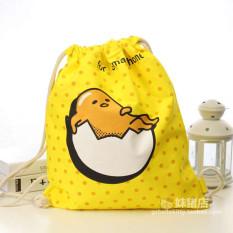Korea Fashion Style Kanvas Anak Kantong Mulut Ketat Tali Tas Ransel (Kuning Telur Saudara)