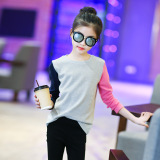 Harga Korea Fashion Style Katun Anak Perempuan Bagian Tipis Kemeja Kecil Baju Dalaman Abu Abu Asli