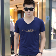 Toko Korea Fashion Style Kapas Laki Laki V Neck Baju Dalaman Musim Panas Lengan Pendek T Shirt 0039 Biru Tua Oem Tiongkok