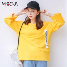 Kaos Oblong Lengan 7/8 Katun Tulen Versi Korea (Kuning) (Kuning)