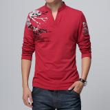 Dapatkan Segera Korea Fashion Style Kapas V Neck Dicetak Pakaian Pria Atasan T Shirt Merah Baju Atasan Kaos Pria Kemeja Pria