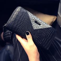 Korea Fashion Style Kapasitas Besar Dompet Dompet Wanita (Pola Kulit Buaya 58 Segitiga Perak)
