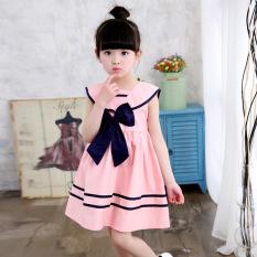Korea Fashion Style Katun Anak Perempuan Kecil Dress Tanpa Lengan Gaun (Navy Gaun Merah Muda Warna)