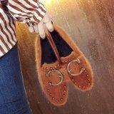 Spek Korea Fashion Style Katun Beludru Perempuan Musim Gugur Sepatu Klasik Sepatu Kulit Kacang Cokelat Warna Indonesia