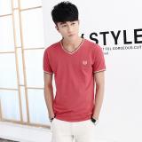 Spesifikasi Korea Fashion Style Katun Berwarna Warni Lengan Pendek Pria T Shirt Merah Baju Atasan Kaos Pria Kemeja Pria Other Terbaru