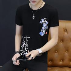 Ulasan Mengenai Korea Fashion Style Katun Pria Lengan Pendek Bulat Leher Kaos Hitam