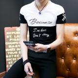 Iklan Korea Fashion Style Katun Pria V Neck Baju Kaos Musim Panas Lengan Pendek T Shirt Surat Hitam Dan Satu Putih Baju Atasan Kaos Pria Kemeja Pria