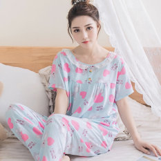 Korea Modis Gaya Katun Sutra Perempuan Bagian Tipis Kasual Layanan Rumah Baju Tidur (Pendek Panjang Cinta Beruang Biru)