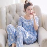 Dapatkan Segera Korea Fashion Style Katun Sutra Perempuan Bagian Tipis Kasual Layanan Rumah Baju Tidur Pendek Panjang Empat Sudut Kelinci Biru