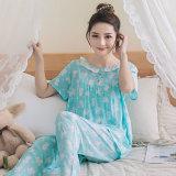 Beli Korea Fashion Style Katun Sutra Perempuan Bagian Tipis Kasual Layanan Rumah Baju Tidur Pendek Panjang Empat Sudut Kelinci Hijau Terbaru