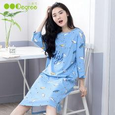 Korea Fashion Style Katun Wanita Ukuran Besar Baju Rumah Gaun Tidur (31082 Biru)