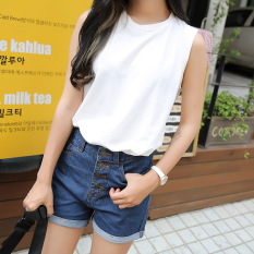 Beli Korea Fashion Style Katun Warna Solid Musim Panas Vest Leher Bulat Tanpa Lengan T Shirt Kuning Baju Wanita Baju Atasan Kredit