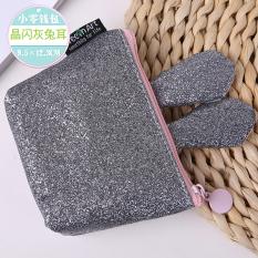 Korea Fashion Style Kelinci Telinga Dompet Kunci Setengah Lingkaran Dompet Uang Receh (Flash Kristal Abu