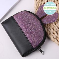 Korea Fashion Style Kelinci Telinga Dompet Kunci Setengah Lingkaran Dompet Uang Receh (Flash Kristal Ungu