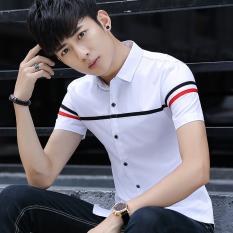 Korea Modis Gaya Kemeja Putih Dicetak Kemeja Lengan Pendek Ramping Muda (114 Putih) baju Atasan Kaos Pria Kemeja Pria