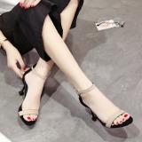 Ongkos Kirim Korea Fashion Style Kitten Heel Gesper Horizontal Sandal Summer Hak Tipis Sepatu Hak Tinggi Beige Sepatu Wanita High Heels Sepatu Wanita Wedges Di Tiongkok