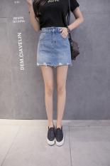 Korea Fashion Style Koboi Perempuan Slim Pendek Rok Rok Setengah Badan (Biru) baju wanita rok
