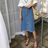 Ulasan Tentang Korea Fashion Style Koboi Terlihat Langsing Pinggang Rok Setengah Badan Single Breasted Biru