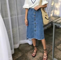 Review Korea Fashion Style Koboi Terlihat Langsing Pinggang Rok Setengah Badan Single Breasted Biru Terbaru