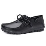 Review Tentang Kulit Musim Semi Baru Datar Dengan Sepatu Kulit Sepatu Kulit Kacang Hitam
