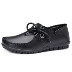 Spesifikasi Kulit Musim Semi Baru Datar Dengan Sepatu Kulit Sepatu Kulit Kacang Hitam Yang Bagus