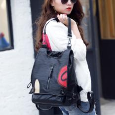 Korea Fashion Style Kulit Domba Dwiguna Tunggal Tas Ransel Tas Ransel (Hitam)