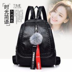 Korea Fashion Style Kulit Lembut Perempuan Winnie The Pooh Tas Ransel Tas Mini (Hitam Polos)