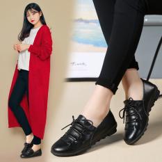 Sepatu Tods Wanita Kulit Asli Sol Datar Versi Korea (Hitam) (Hitam)
