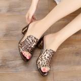 Diskon Produk Korea Fashion Style Kulit Perempuan Pakaian Luar Dengan Sandal Summer Sepatu Wanita Coklat Motif Macan Tutul 17 Produk Baru