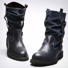 Korea Fashion Style Kulit Putaran Sepatu Katun Sepatu Boot Sepatu Boots Pria (Biru (Ditambah Beludru Di Dalam))