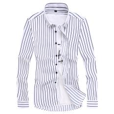 Beli Korea Fashion Style Laki Laki Lengan Panjang Slim Cetak Kemeja Kemeja Pria B15 Biru Oem Online