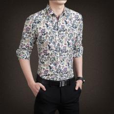 Jual Korea Fashion Style Laki Laki Lengan Panjang Slim Cetak Kemeja Kemeja Pria C08 Off White Branded Murah