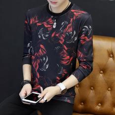 Korea Fashion Style Laki-laki Musim Gugur Produk Baru T-shirt Pullover Kaos Sweater (Kalkun Merah)
