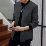 Korea Fashion Style Laki Laki Musim Semi Dan Gugur Ukuran Besar Jeket Pria Tipis Jas 3288 Abu Abu Gelap Original
