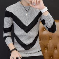 Toko Korea Fashion Style Laki Laki Slim Remaja Kemeja Rajut Leher Bulat Sweter Abu Abu Termurah