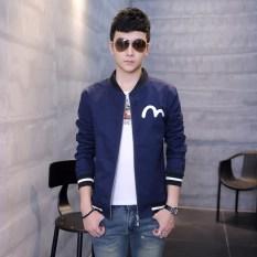 Harga Korea Fashion Style Laki Laki Yard Besar Muda Gaun Musim Gugur Jas Biru Tua Jaket Pria Jaket Bomber Terbaik