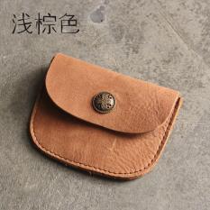 Korea Fashion Style lapisan pertama pria kulit dan wanita rajut dompet kecil (Coklat muda) (Coklat muda)