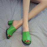 Toko Korea Fashion Style Lapisan Pertama Kulit Mulut Ikan Horizontal Sendal Sandal Wanita Hijau Sepatu Wanita Sandal Wanita Dekat Sini
