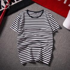 Spesifikasi Korea Fashion Style Leher Bulat Bergaris Siswa Baju Gaya Pelaut T Shirt Bar Hitam Baju Atasan Kaos Pria Kemeja Pria Yang Bagus