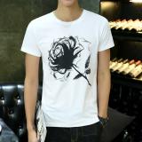 Korea Fashion Style Leher Bulat Slim Cetak Lengan Pendek Atasan T Shirt Lengan Pendek Slim Putih Bunga Oem Murah Di Tiongkok