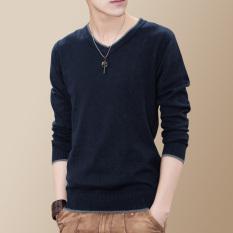 Korea Modis Gaya Lengan Panjang Kerah V Bawahan Pria Sweater Kaos (Biru Tua Bagian Tipis)