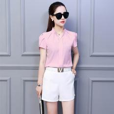 Harga Korea Fashion Style Lengan Pendek Perempuan Baru Baju Dalaman Kemeja Sifon Merah Muda Baju Wanita