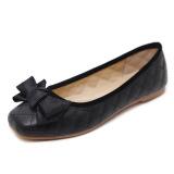 Toko Korea Fashion Style Manis Busur Angin Sepatu Berkepala Persegi Sepatu Wanita Hitam Lengkap Di Tiongkok